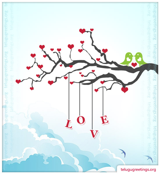 Love Romance Card 3, Send Love Romance Telugu Greeting Messages to your Sweet Heart!
