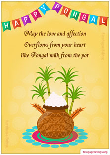 Pongal Greeting 5, Send 2017 Pongal Greeting Cards in Telugu to your friends and family.